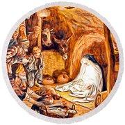 Adoration Of The Shepherds Nativity Round Beach Towel