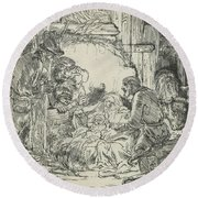 Adoration Of The Shepherds, With Lamp Round Beach Towel