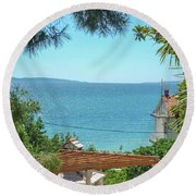 Adriatic Coast Sea View Round Beach Towel