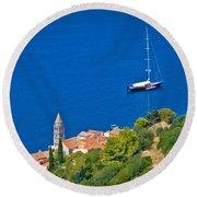 Adriatic Town Of Vis Sailing Destination Waterfront Round Beach Towel