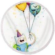 Adventure Time Finn With Birthday Balloons Jake Princess Bubblegum Bmo Round Beach Towel by Olga Shvartsur