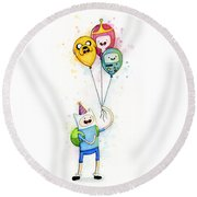 Adventure Time Finn With Birthday Balloons Jake Princess Bubblegum Bmo Round Beach Towel by Olga Shvartsur