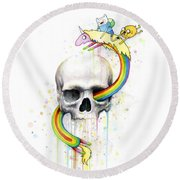 Adventure Time Skull Jake Finn Lady Rainicorn Watercolor Round Beach Towel by Olga Shvartsur
