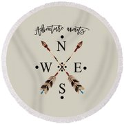 Adventure Waits Typography Arrows Compass Cardinal Directions Round Beach Towel