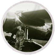 Amelia Earhardt, Ireland, Solo Atlantic Crossing, May 21st, 1932 Round Beach Towel
