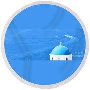 Aegean Blue Round Beach Towel