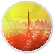 Sunset In Paris  Round Beach Towel