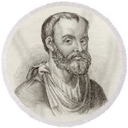 Aelius Galenus Or Claudius Galenus Round Beach Towel