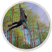 Aerial Artist - Use Red-cyan 3d Glasses Round Beach Towel