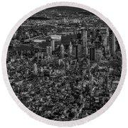 Aerial New York City Sunset Bw Bw Round Beach Towel