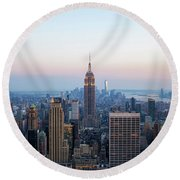Aerial Night View Of Manhattan Skyline In New York Round Beach Towel