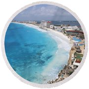 Aerial Of Cancun Round Beach Towel