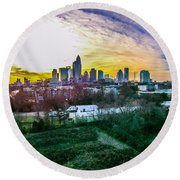 Aerial Of Charlotte North Carolina Skyline Round Beach Towel