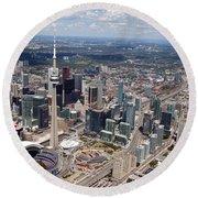Aerial Of Downtown Toronto Ontario Round Beach Towel