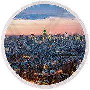 Aerial Of Midtown Manhattan With Empire State Building, New York Round Beach Towel