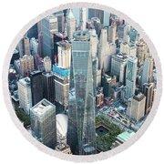 Aerial Of One World Trade Center, New York, Usa Round Beach Towel
