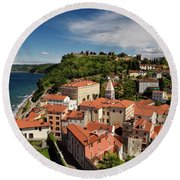 Aerial Of Piran Slovenia On Gulf Of Trieste Adriatic Sea With St Round Beach Towel