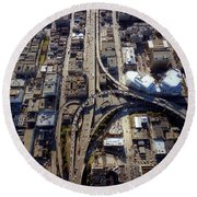Aerial Of The Maze Near The Bay Bridge, San Francisco Round Beach Towel