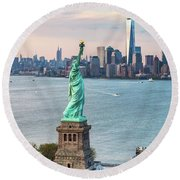Aerial Of The Statue Of Liberty At Sunset, New York, Usa Round Beach Towel