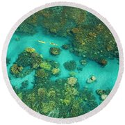 Aerial Of Two Kayakers Round Beach Towel