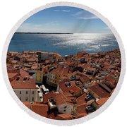 Aerial Panorama Of Piran Slovenia On Adriatic Sea With Marina An Round Beach Towel