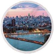 Aerial Panoramic Of Midtown Manhattan At Dusk, New York City, Us Round Beach Towel