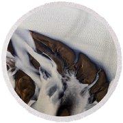 Aerial Photo Thjosa Iceland Round Beach Towel