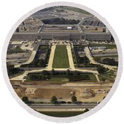 Aerial Photograph Of The Pentagon Round Beach Towel