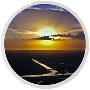 Aerial Sunset Over Canal Round Beach Towel