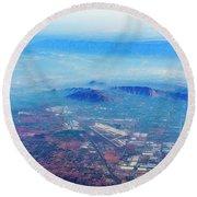 Aerial Usa. Los Angeles, California Round Beach Towel