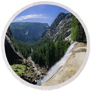 Aerial View From The Top Of The Upper Yosemite Fall Round Beach Towel