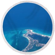 Aerial View Of Cancun Round Beach Towel