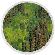Aerial View Of Forest On Mountainside Round Beach Towel