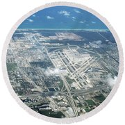 Aerial View Of Fort Lauderdale Airport. Fll Round Beach Towel