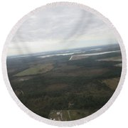 Aerial View Of Fort Myers. Round Beach Towel