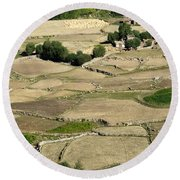 Aerial View Of Green Ladakh Agricultural  Landscape Round Beach Towel