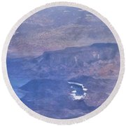 Aerial View Of Hoover Dam Round Beach Towel