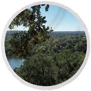 Aerial View Of Large Forest And Lake Round Beach Towel