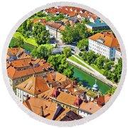 Aerial View Of Ljubljana Green River Round Beach Towel