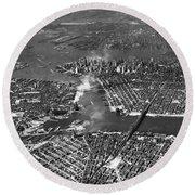 Aerial View Of Lower Manhattan Round Beach Towel
