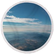 Aerial View Of Mountain Formation With Low Clouds During Daytime Round Beach Towel