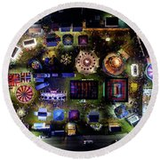 Aerial View Of Norco Fair - Pottstown Pa Round Beach Towel