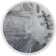 Aerial View Of Open Pit Sand Quarries.  View From Above.  Round Beach Towel