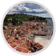 Aerial View Of Piran Slovenia On The Adriatic Sea Coast With Har Round Beach Towel