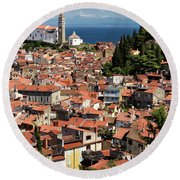 Aerial View Of Piran Slovenia With St George's Cathedral On The  Round Beach Towel