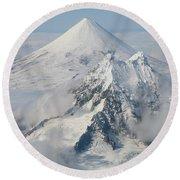Aerial View Of Shishaldin Volcano Round Beach Towel by Richard Roscoe