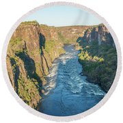 Aerial View Of Sunlit Rapids In Canyon Round Beach Towel