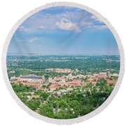 Aerial View Of The Beautiful University Of Colorado Boulder Round Beach Towel
