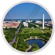 Aerial View Of The National Mall And Washington Monument Round Beach Towel