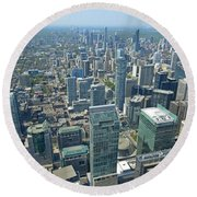Aerial View Of Toronto Looking North Round Beach Towel